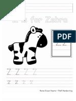 Zz PreK Handwriting