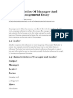 Characteristics of Manager and Leader Management Essay