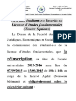Avis de Reinscription FSJES Agdal 2015
