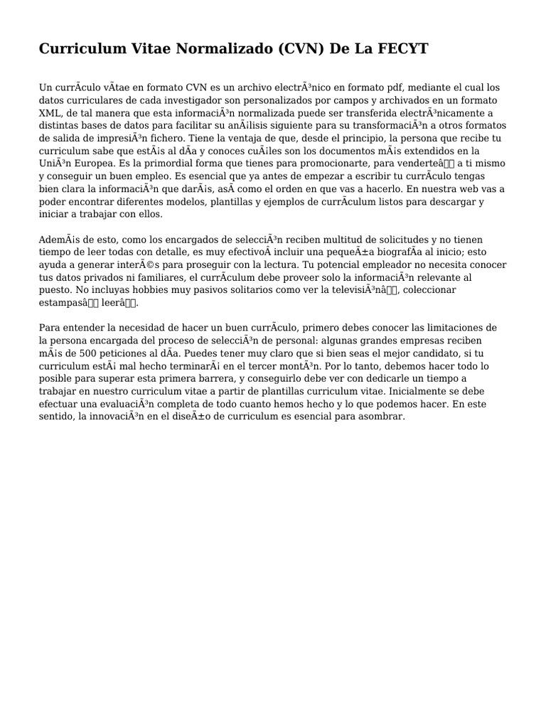 Curriculum Vitae Normalizado Cvn De La Fecyt