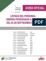 Lista de Obreros Pensionados ME Septiembre 2015 - Notilogia