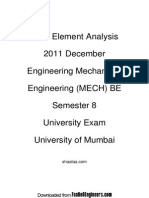 Finite Element Analysis - 2011 December - Engineering Mechanical Engineering (MECH) BE - Semest