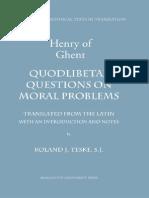 Enrique de Gante -- Quodlibetal Questions on Moral Problems
