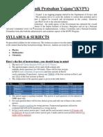 Kvpy-1 Exam Details