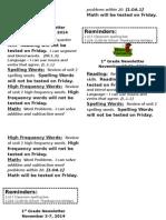 1st Grade Newsletter 2