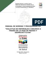 Manual de Normas y Procedimientos Para La Solicitud de Materiales e Insumos Centros de Salud