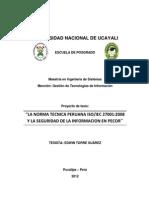 LA NORMA TECNICA PERUANA ISO/IEC 27001:2008 Y LA SEGURIDAD DE LA INFORMACION