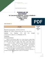 Formular Inscriere Concurs 2014 Seciunea A