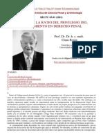 Acerca de La Ratio Del -Privilegio Del Desistimiento en Derecho Penal - Claus Roxin
