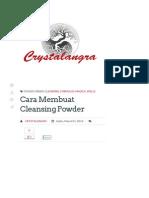 Panduan Membuat Cleansing Powder