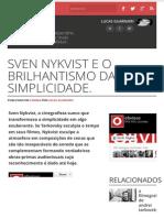 Sven Nykvist e o Brilhantismo Da Simplicidade.