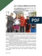 28.11.2014 Esteban Reconoce a Adriana, Bibliotecaria Del Año