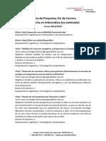 Proyectos Fin de Carrera Ofertados 2011-2012