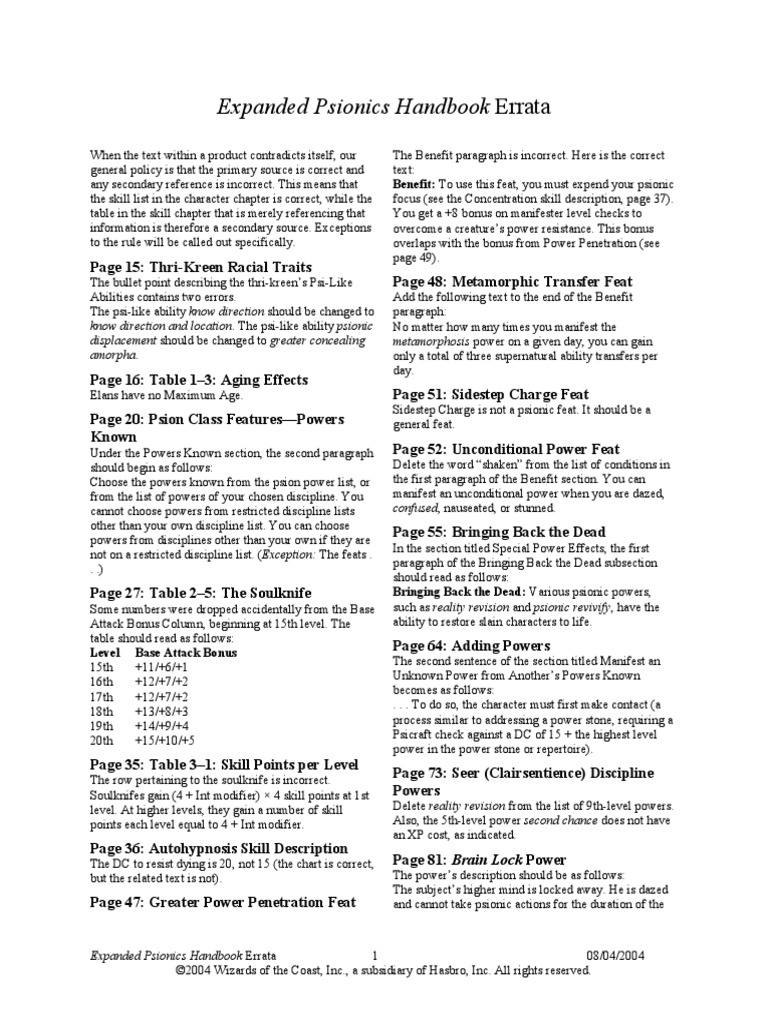 Expanded Psionics Handbook Errata 08042004 | D20 System | Dungeons