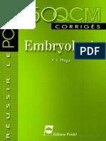 Embryologie 150 QCM Corrigés