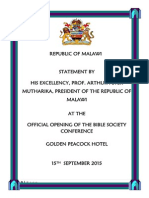 Statement by President Arthur Peter Mutharika at the Official Opening of Bible Society Conference, Golden Peacock Hotel on 15th September 2015