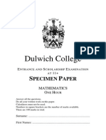 11 Mathematics Specimen Examination Dulwich 2012