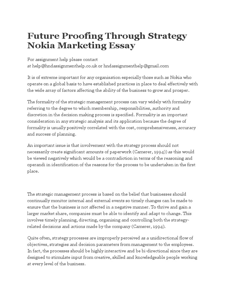 Future Proofing Through Strategy Nokia Marketing Essay | Strategic