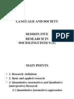 CO5 L&S Research in Sociolinguistics (1) 2LMA 2E 2RE Sem II