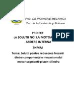 Solutii Pentru Reducerea Frecarii Dintre Componentele Mecanismului Motor Segmenti Piston Cilindru