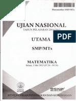 Soal UN Matematika SMP 2015 Paket 1