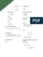 Formula Sheet for Test 2