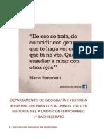 INFORMACIÓN PARA LOS ALUMNOS. DEPARTAMENTO DE GEOGRAFÍA E HISTORIA