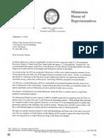 Letter from Jobs & Energy Chair Pat Garofalo to Gov. Mark Dayton