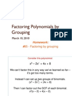 Factoring Polynomials by Grouping