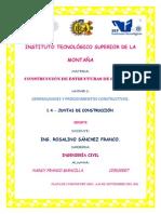 Reporte. COJUNTAS DE CONSTRUCCIÓNNCRETO. Unidad 1. 1.4