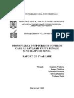 Promovarea Drepturilor Copiilor Care Au Savarsit Fapte Penale Si Nu Raspund Penal - Raport de Evaluare