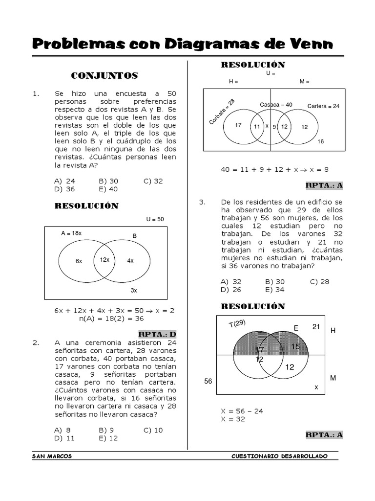Problemas con diagramas de venn ejercicios resueltos ccuart Gallery