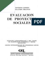 Evaluación de Proyectos Sociales. Cohen y Franco