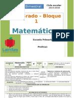Plan 6to Grado - Bloque 1 Matemáticas (2015-2016)