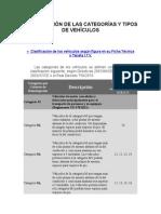 Clasificación de Las Categorías y Tipos de Vehículos