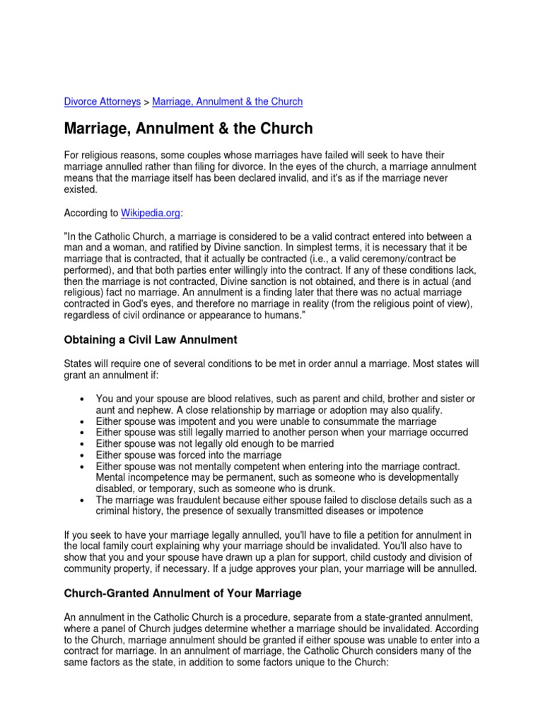 Marriage Annulment And The Catholic Church Annulment Marriage