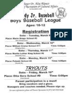 Deich-brady Jr. Baseball Tryouts