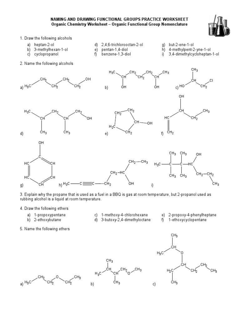 Printables Functional Group Practice Worksheet 15 naming and drawing functional groups practice worksheet