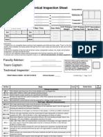 Baja SAE Tech Inspection Sheet 2014-2015