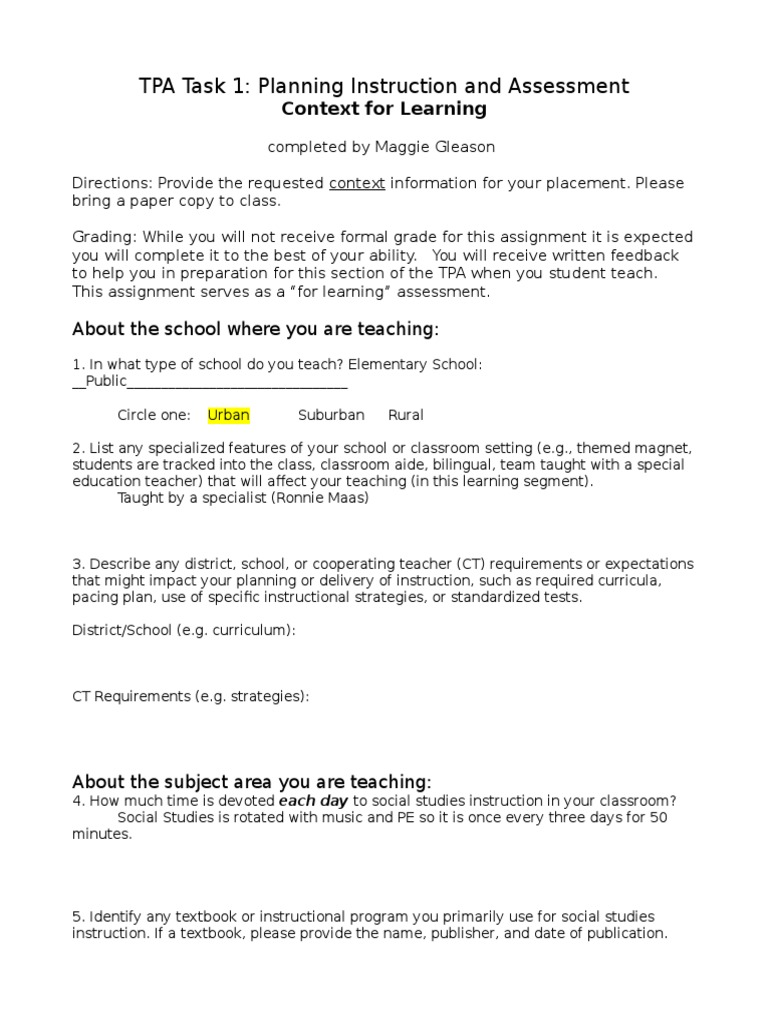 ss context for learning template | Individualized Education Program | Special  Education