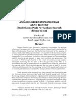 ANALISIS KRITIS IMPLEMENTASI AKAD WADI'AH  (Studi Kasus Pada Perbankan Syariahdi Indonesia)