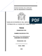Tesis ANÁLISIS ECONÓMICO DEL SERVICIO DE AGUA POTABLE EN LA CIUDAD DE YUNGUYO 2001