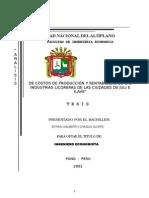 Tesis ANÁLISIS DE COSTOS DE PRODUCCIÓN Y RENTABILIDAD DE LAS INDUSTRIAS LICORERAS DE LAS CIUDADES DE JULI E ILAVE