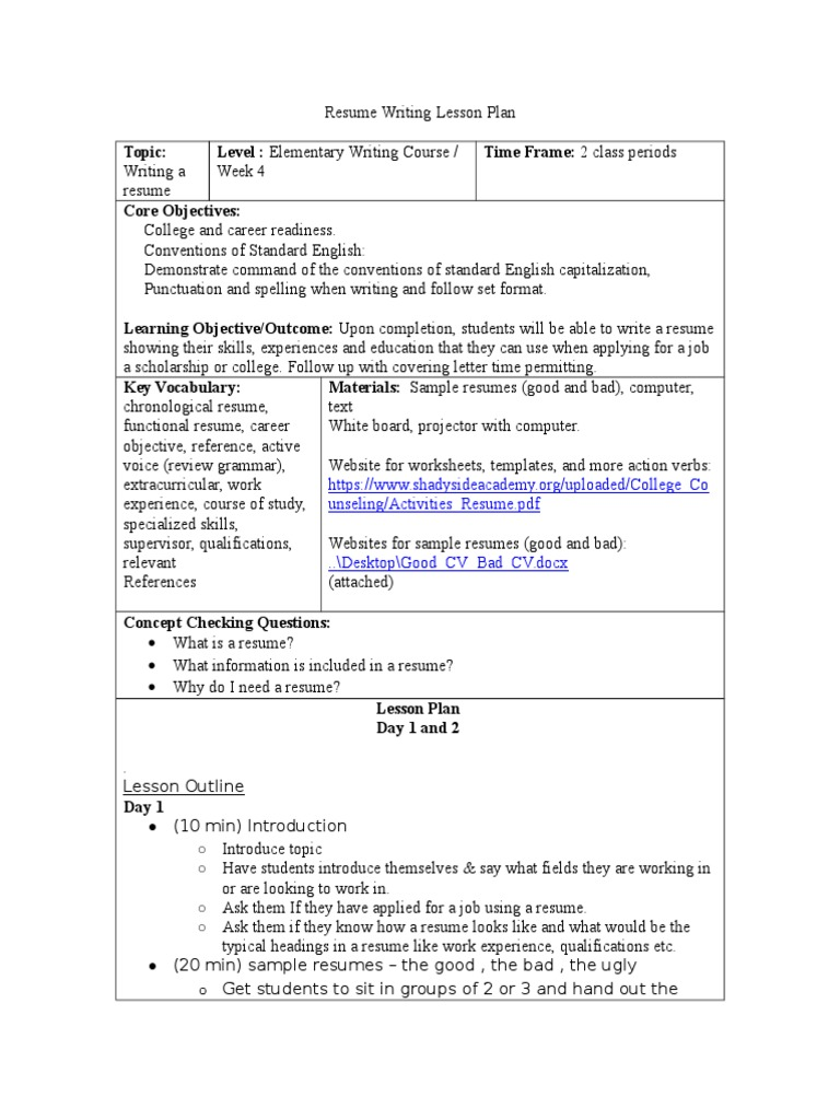 resume writing lesson plan doc