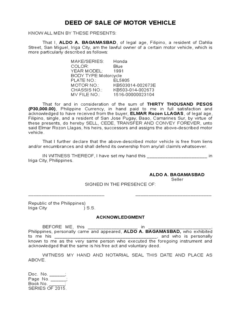 deed of absolute sale of a motor vehicle docx deed of absolute