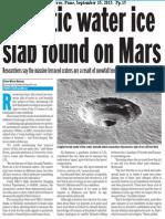 Gigantic water ice slab found on Mars