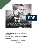 Informacio n Para Los Alumnos Departamento de Geografi a e Historia