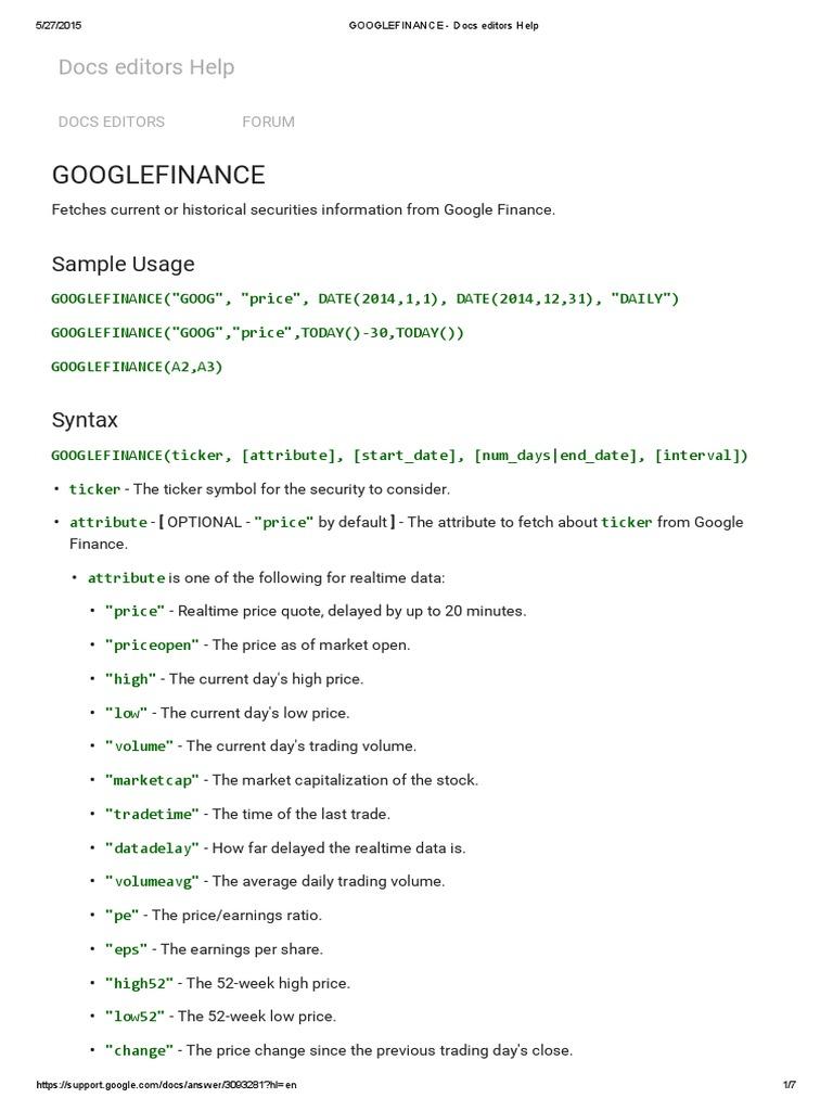 Googlefinance - Docs Editors Help | Money | Business