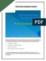 FIN 370 Final Exam - Assignment