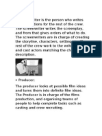 Job Roles In Film